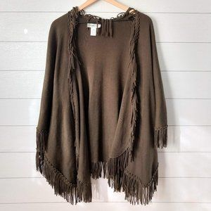 Coldwater Creek Fringe Sweater Poncho Wrap OS